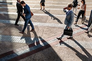 People walking to office