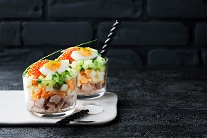 Salad of cod liver with eggs