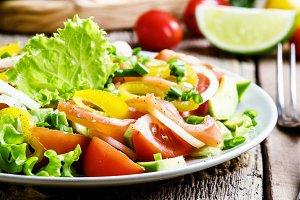 Salad with salted salmon and vegetab