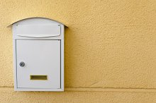 Metallic mailbox in white