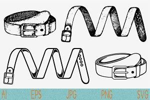 men's belt set vector svg png eps