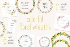 Floral watercolor wreaths collection