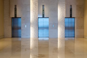 Three elevator doors interior buildi