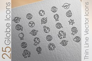 Vector Globe Line Icon Set