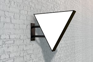Blank white company store sign mock