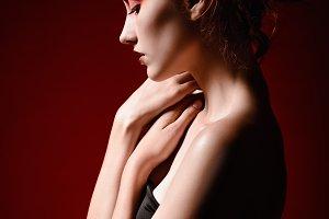 Beautiful sad redhead girl