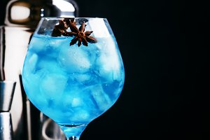 Alcoholic cocktail with sambuca, liq