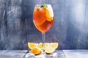 Summer cocktail aperitif with orange