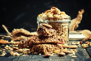 Cereal muesli bars, dark background,