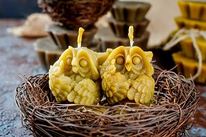 handmade candles in shape owls  made