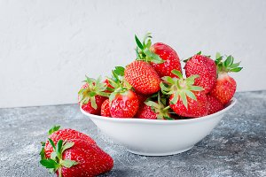 Appetizing strawberry in the bowl on
