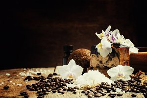 Spa concept with coffee: soap, salt