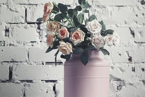 Vintage pink cans with flowers, tone