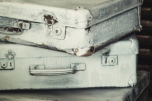 Old suitcases, vintage background, s