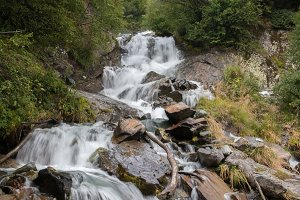 Waterfall in Forest, Caucasus