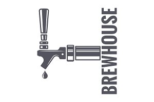 Beer tap logo of brewhouse on white