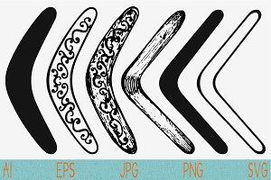 returning boomerang set vector svg