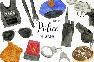 Watercolor Police Clipart