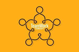 Teamwork logo business line concept