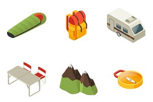 Isometric Camping Icons Collection