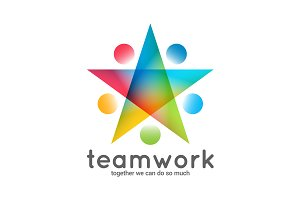Teamwork logo business star concept