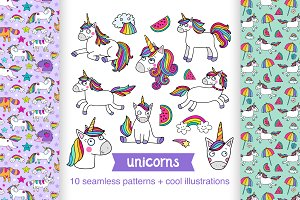 Unicorns: patterns and illustrations