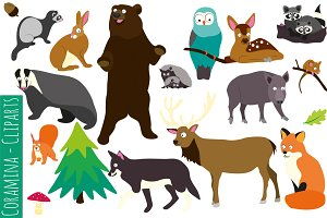 18 woodland animal cliparts vector