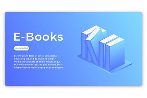 E-books. Isometric concept of modern