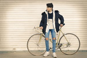 young to the fashion with the bicycl