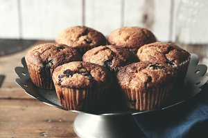 Rustic homemade blueberry muffins