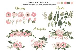 Soft Pink Flowers Bouqet Clipart