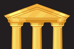 Doric antique temple with columns.
