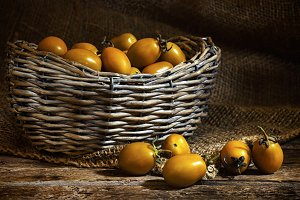 Yellow datterin cherry tomatoes.