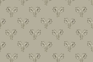 Floral Drawing Seamless Pattern Desi