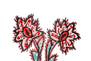 Colorful Cartoon Style Flowers Drawi
