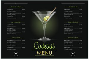 Martini glass. Cocktail menu design.