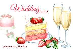 Wedding cake. Watercolor collection