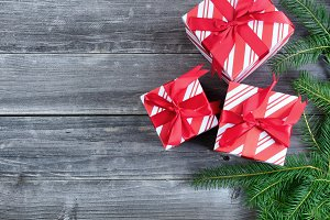 Boxed Gifts with evergreen branches