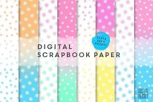 Pastel ombre doodle digital paper