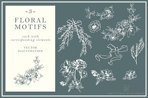 3 Floral Motif Sets