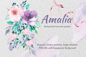 Hand painted clip arts - Amalia.