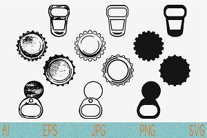 bottle caps, metal ring pull svg