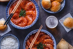 Shrimp in chili sauce with rice and