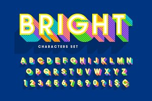 Extra bright 3d display font design