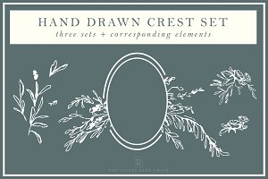 Hand Drawn Crest Illustration Set