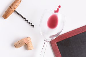 Chalkboard with wine glass, corkscre