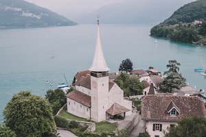 Panorama of Spiez & Lake, Swiss