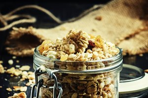 Baked muesli with raisins and sunflo