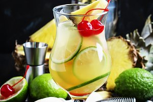 Alcoholic cocktail pisco punch with