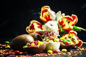 Easter composition: rabbit, chocolat